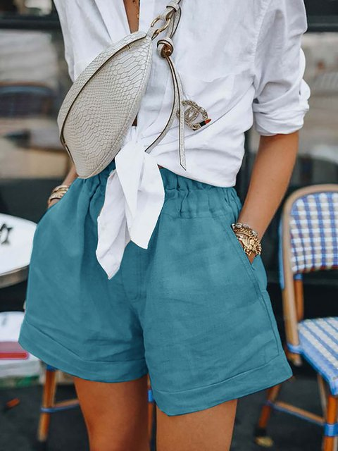 Elastic Waist Pockets Casual Shorts Pants