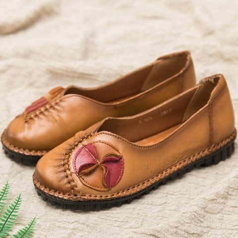 Daily Summer Flat Heel Leather Flats Flower Shoes for Women