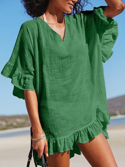 Summer Dress Ruffled Hem Frill Sleeves Sweet Blouses/Dress