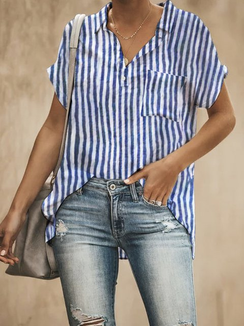 Pockets Shirt Collar Printed Casual Striped Blouses