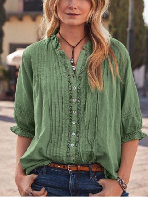 Half Sleeve V Neck Cotton-Blend Blouse
