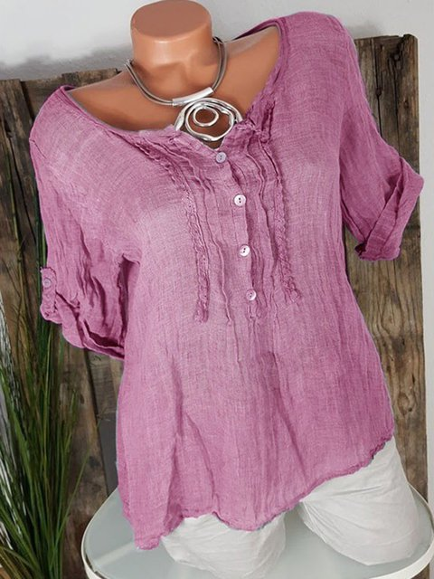 Plus Size Solid Color V-neck Short Sleeve Casual Blouses