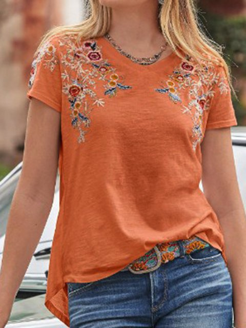 Floral-Embroidered Cotton-Blend Short Sleeve T-Shirts