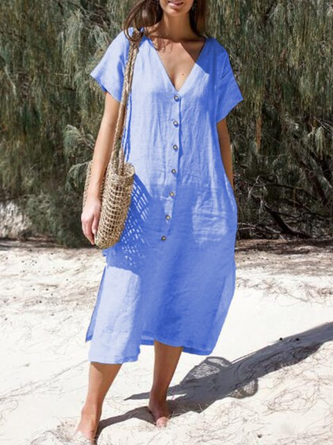 Short Sleeve A-Line V Neck Dresses
