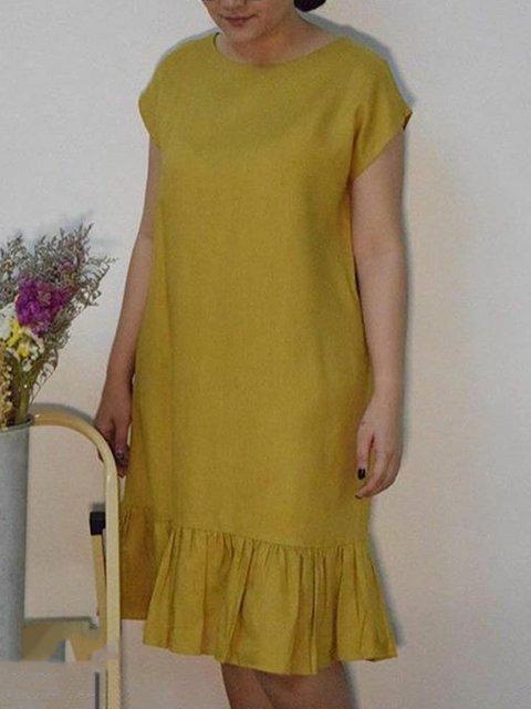 Women Midi Dresses Shift Daily Cotton Crew Neck Dresses