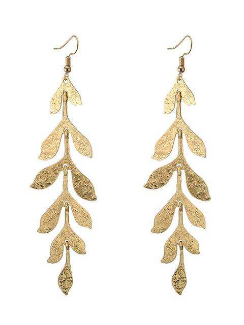 Bohemian Ladies Earrings Golden Multi-layered Leaves Long Earrings