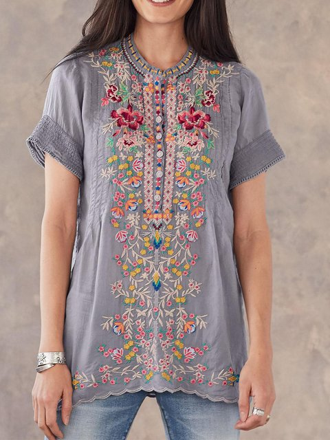 Gray Round Neck Casual Floral-Print Shirts & Tops