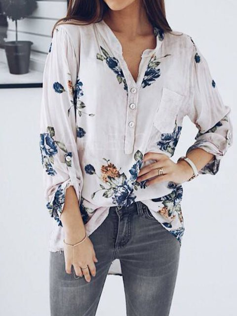 8bb07e07 White Floral Long Sleeve Casual Pockets Shirts & Blouses ...