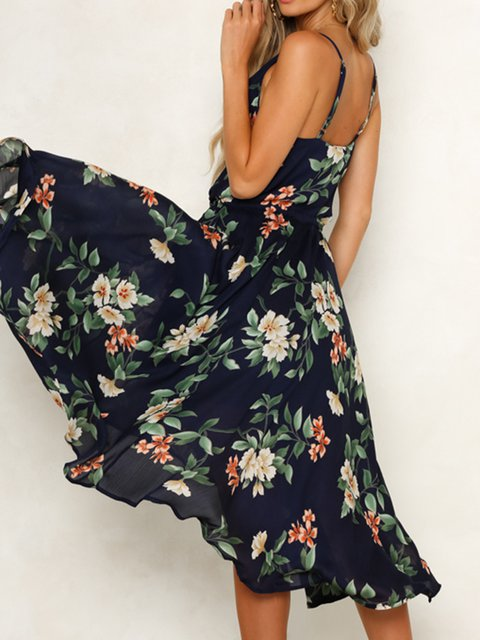Navyblue Women Floral Dresses Holiday Holiday Cotton Dresses