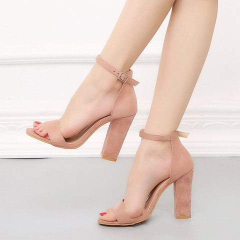 Women Suede Sandals Casual Ankle Strap Buckle Shoes
