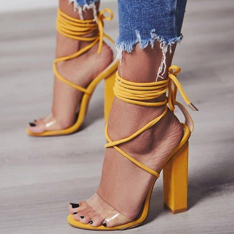 Women Casual Transparent Lace Up Sandals Sexy Shoes