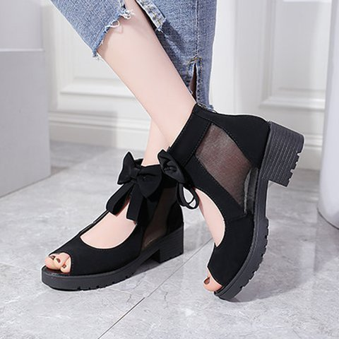 Black Summer Chunky Heel Mesh Split Joint Heel