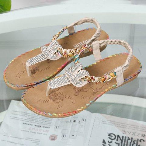 9bba4a505ae7c Justfashionnow Sandals Rhinestone Beige Flip-Flops Flat Heel Casual Sandals