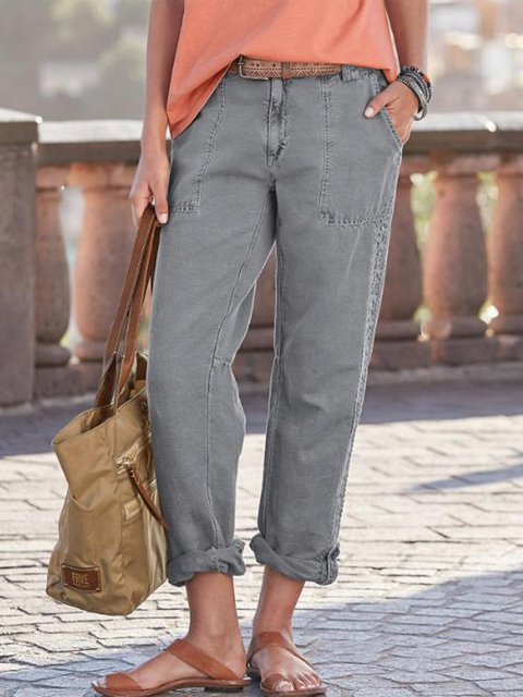 Casual Pockets Solid Lace Pants
