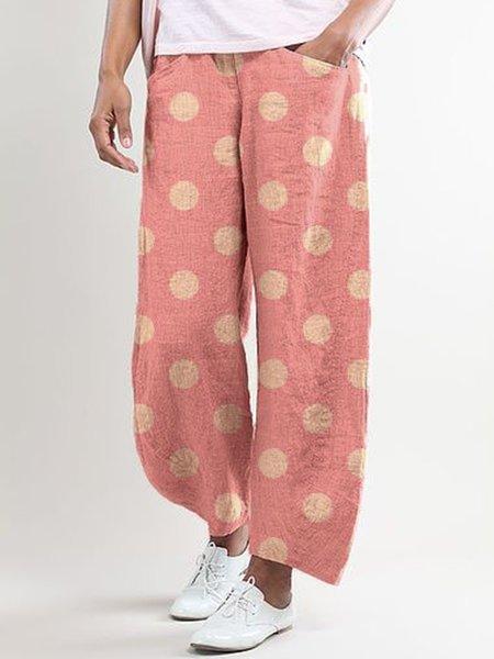 Polka Dots Pockets Casual Pants