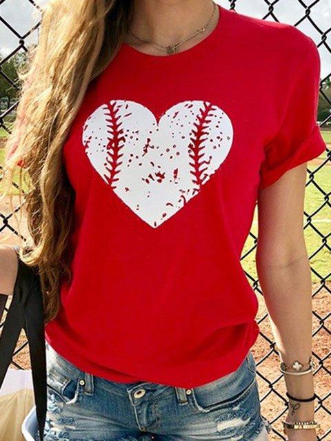 Summer Tops Heart Print Short Sleeve Casual T-Shirts