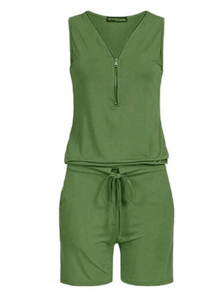 Casual Solid V Neck Sleeveless Rompers