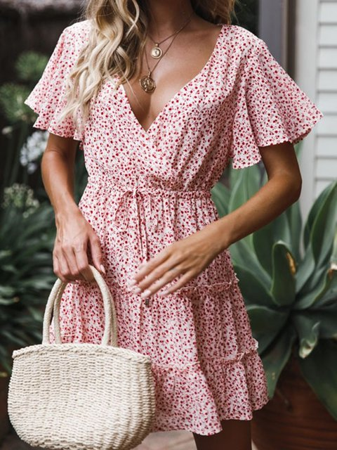 Summer Dress V-Neck Frill Sleeves Floral Dresses