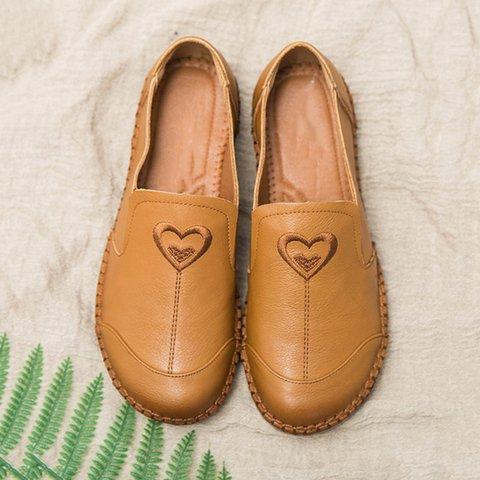 Vintage Women Shoes Slip On Round Toe Flats