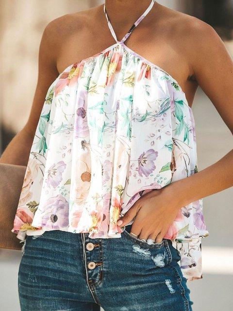 Plus Size Floral Print Halter Women Summer Blouses