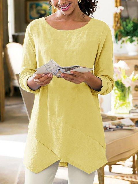 Asymmetrical Hem Casual 3/4 Sleeve Plus Size Shirts