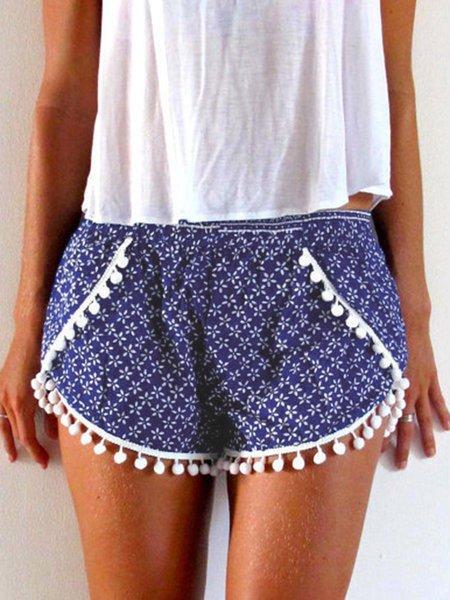 Summer Printed Elastic-waist Casual Shorts