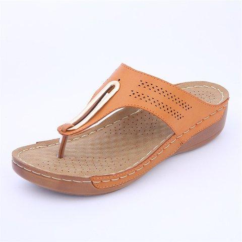 Women Casual Flip Flops Low Wedge Sandals Shoes