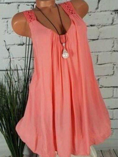 Plus Size Sleeveless Solid Beach Women Summer Dresses