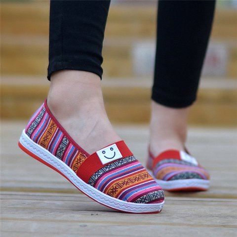 Colorful Canvs Breathable Slip On Flats Loafers