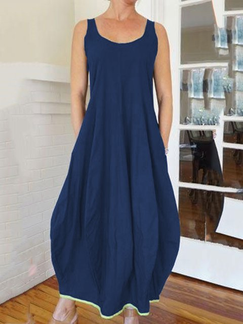 Women Dress Pockets Round Neck Sleeveless Maxi Dresses