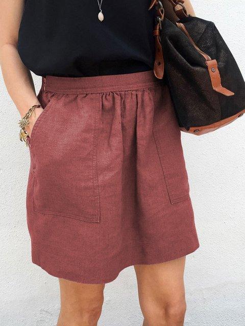 Summer Women Skirts Pockets Hiden Zipper Casual Skirts