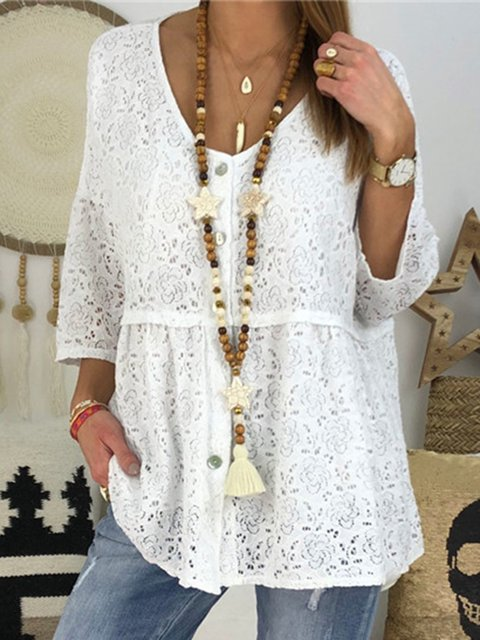 Plus Size V Neck Casual Buttoned Ladies Blouse