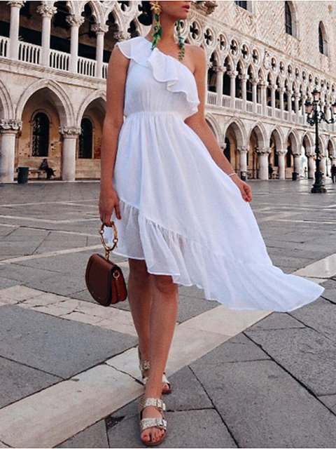 Ruffled One Shoulder Vacation Vintage Women Summer Midi Dresses
