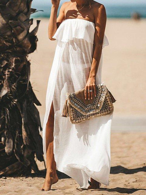 Slit Off Shoulder Ruffled Beach Women Summer Maxi Dresses
