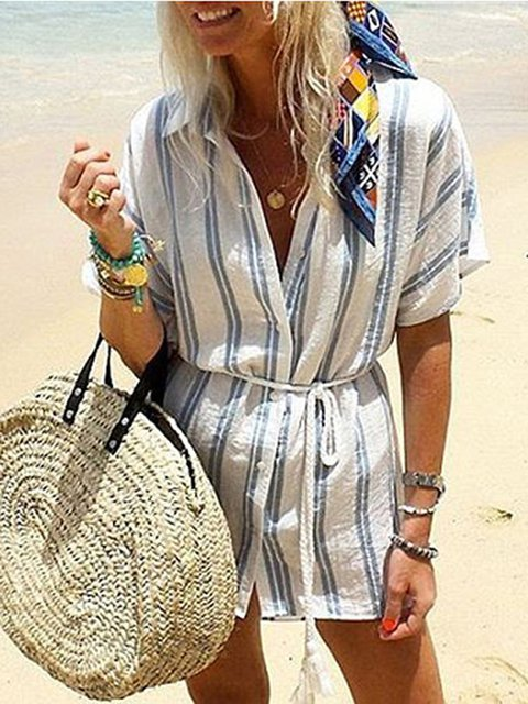 Stripe Vacation Beach Women Summer Mini Dresses