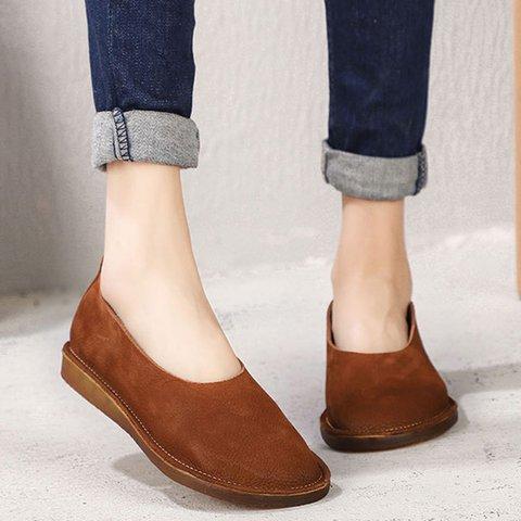 Round Toe Leather Flats Women