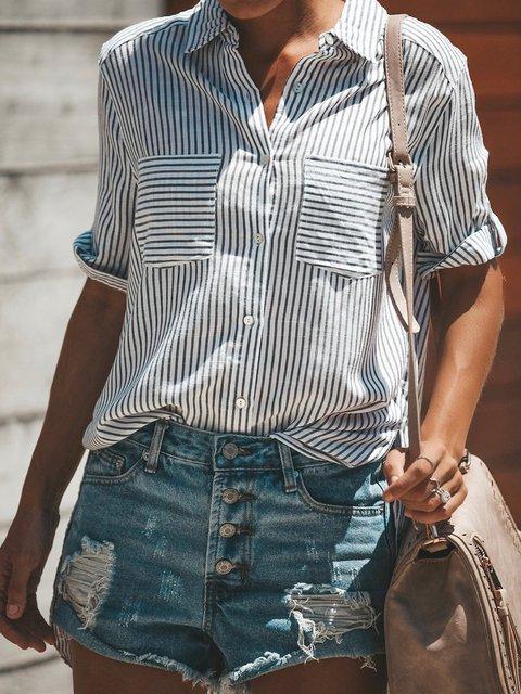 Stripe Cotton-Blend Slit Long Sleeve Women Summer Shirts