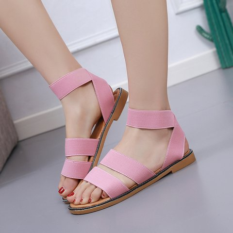 Women's Casual Slip On Elastic Band Open Toe Cloth Sandals