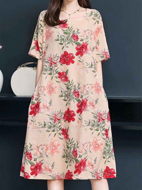 Women Floral Stripes Midi Dresses Crew Neck Shift Daily Casual Dresses