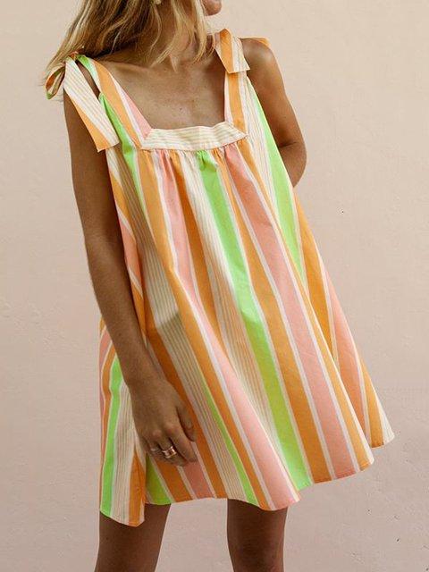 Stripes Patchwork Sleeveless Beach Women Summer Mini Dresses