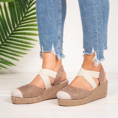 Plus Size Espadrille Wedge Sandals Elastic Band Slip On Sandals