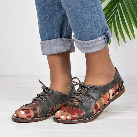 Date Hollow-out Casual Peep Toe Lace Up Sandals