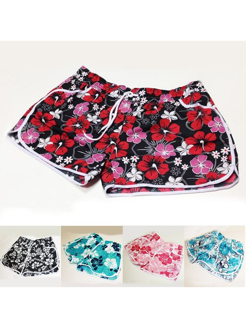 Summer Shorts Pockets Drawstring Floral Casual Shorts