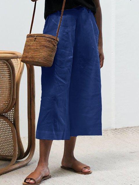 Elastic Waist Solid Plus Size Pants