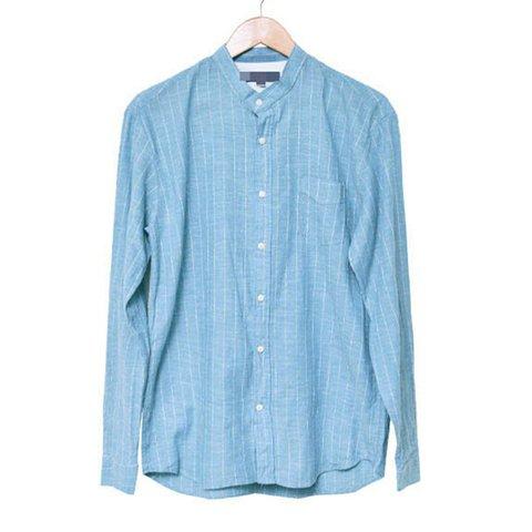 Linen Stripe Pocket Shirts Men's Comfort Stand Collar Long Sleeve Shirts