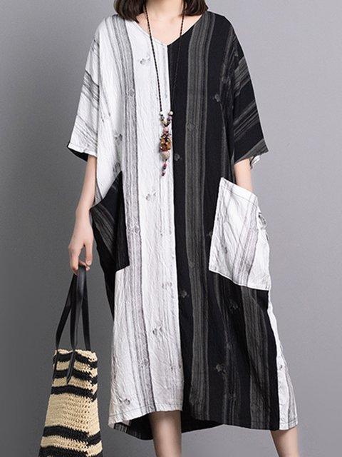 Women Color-block Midi Dresses V Neck Shift Daily Paneled Dresses