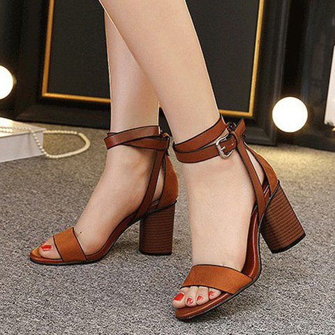 Women Peep Toe Chunky Heeled Buckle Sandals