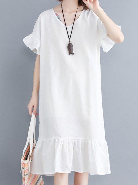 White Women Frill Sleeve Midi Dresses Flounce Daily Cotton Plain Dresses