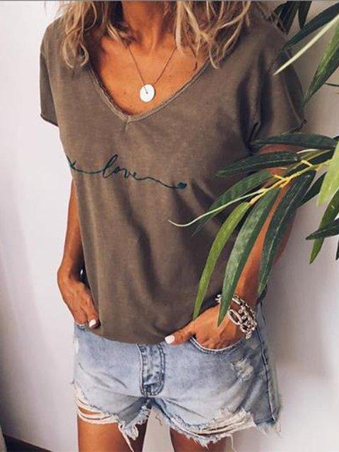 V neck Printed Casual Short Sleeve Shirts