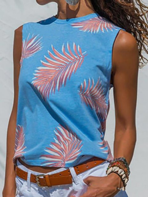 Summer Tops Leaf Print Sleeveless Crew Neck Casual Tanks
